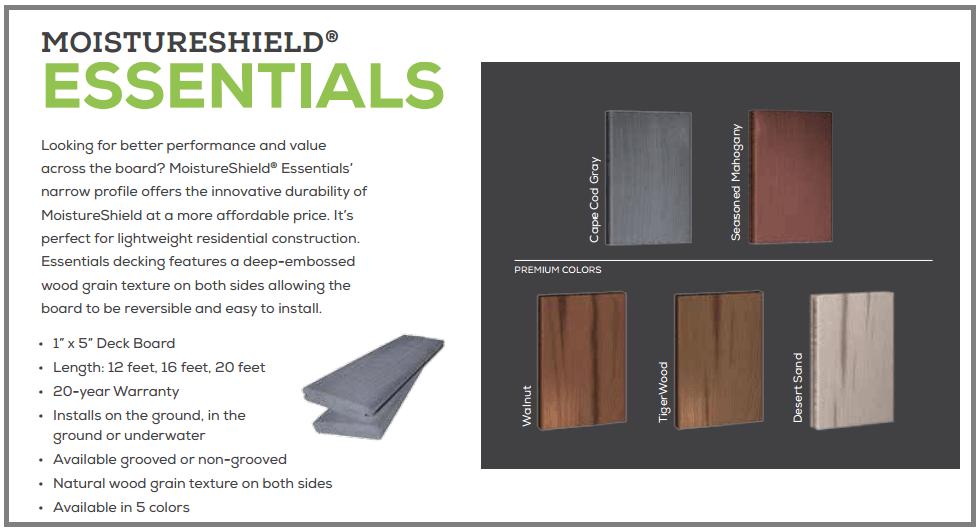 Moistureshield Essentials Composite Decking
